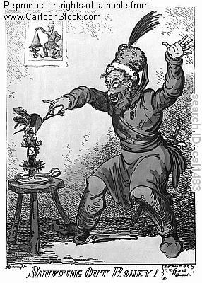 Napoleonic Wars propaganda cartoon of a Frenchman