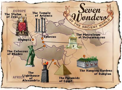 Map of the original Seven Wonders of the World