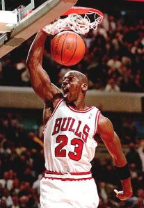 Michael Jordan action shot in the famous # 23 shirt