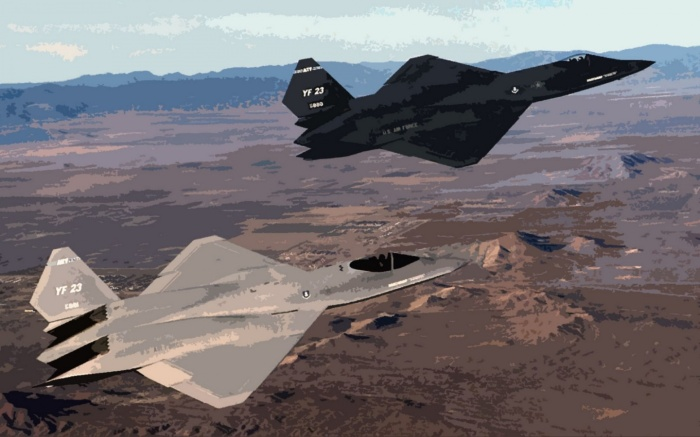 Northrop–McDonnell Douglas YF-23, nicknamed Gray Ghost (foreground), flying with YF-23 Black Widow II