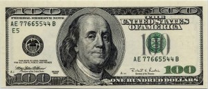 100 dollar bill showing Benjamin Franklin's portrait