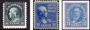 11 cent stamps, Franklin, Polk, Hayes