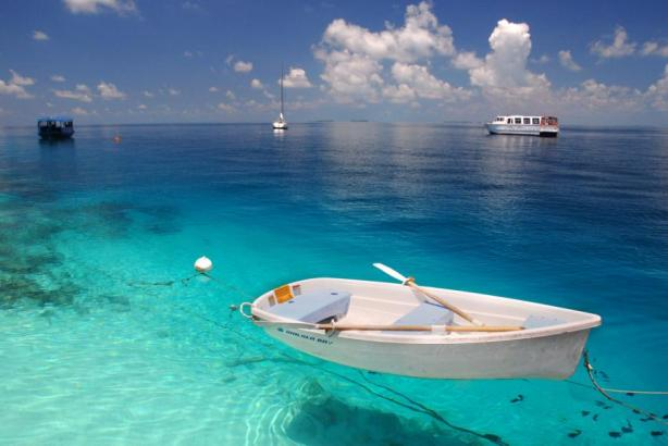 boat tropical clear water