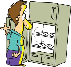 Cartoon Man Staring Into an Empty Refrigerator