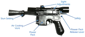 BlasTech Industries DL-44 heavy blaster pistol - tech drawing