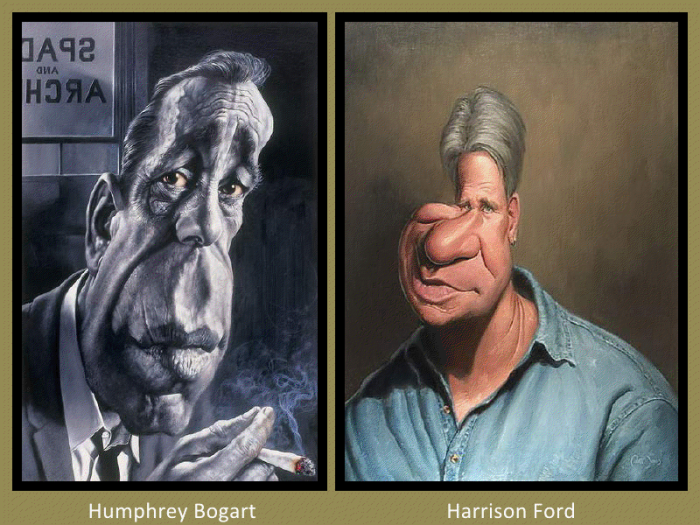 Humphrey Bogart and Harrison Ford