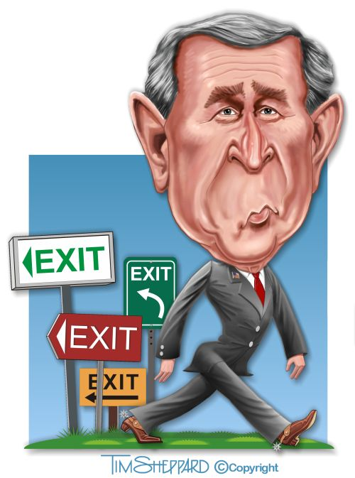 President George W Bush exit cartoon