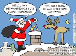 santa fire in chimney cartoon