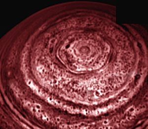 Saturn's hexagonal north pole clouds