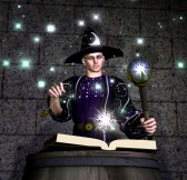 wizard with a magic book of incantations