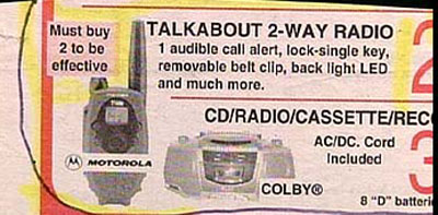 classified ad 2 way radio