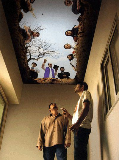 smokers lounge with painted ceiling