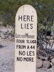 headstone Lester Moore