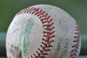 a worn out baseball