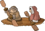 Two Eskimos in a Kayak Clipart