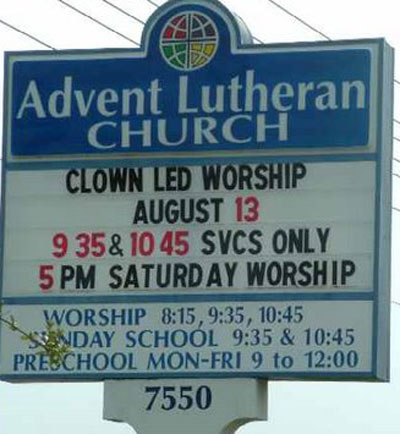 church clown led worship