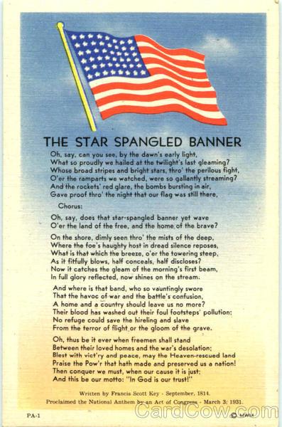 United States Of America Anthem Text lyrics by National ...