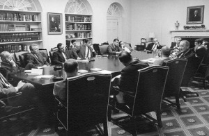 Did You Know LBJ-Benchley_WhiteHouse_roundtable