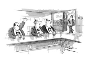 bernard-schoenbaum-three-men-sit-at-bar-drinking-beer-on-each-man-s-shirt-is-one-letter-b-new-yorker-cartoon