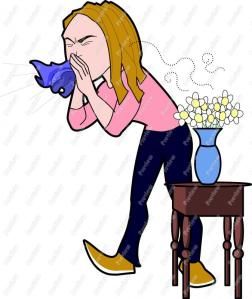 Cartoon woman sneezing