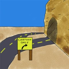 Cartoon shortcut. Normal cars, of course, had to go the long way.