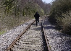 man on railway line