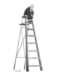 dana-fradon-dejected-man-setting-on-top-rung-of-a-ladder-the-steps