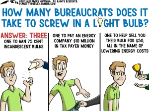 how many bureaucrats does it take to screw in light bulb
