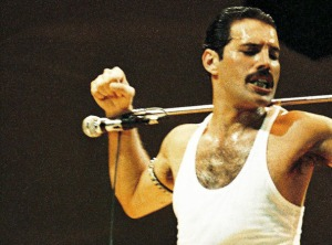 Freddie mercury and Queen Perform At Live Aid At Wembley