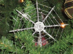 spider's web in Christmas tree