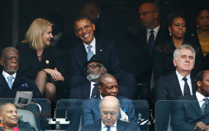 South Africa Mandela Memorial Obama and Helle getting closer