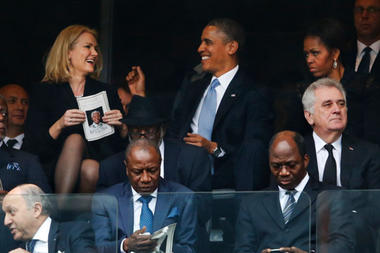 Obama and Helle share a joke - Michelle doesn't get it