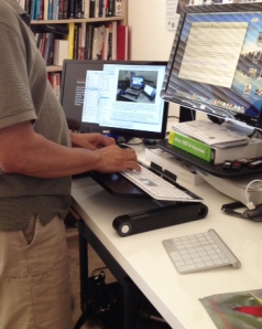 standing typing
