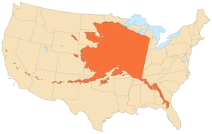 Alaska's size relative to contiguous USA