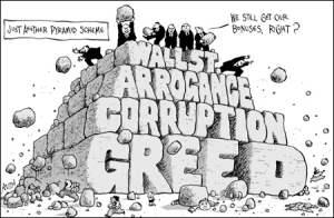 Bankster pyramid of greed and corruption