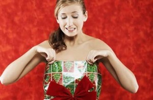 Woman wrapping paper