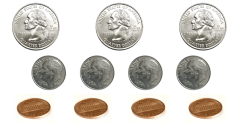 3 quarters, 4 dimes, and 4 pennies, you have $1.19
