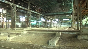 empty steel fabrication plant