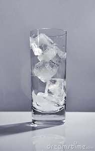 glass of ice cubes