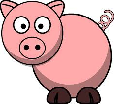 cartoon pig with curly tail