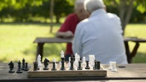 playing chess at the park with old men