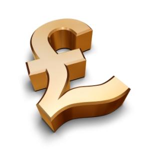 3D golden Pound symbol