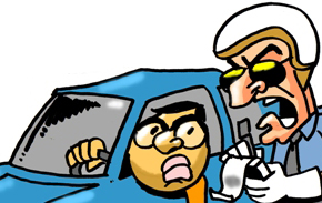 cartoon cop stopping car