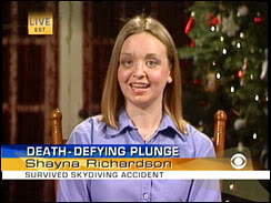 Shayna Richardson skydiver in death defying plunge