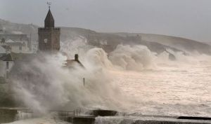 Atlantic winter storms Cornwall England