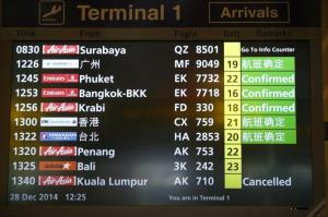 indonesia-airplane AirAsia flight flight QZ8501 airport notice board