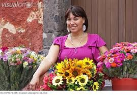 woman selling flowers