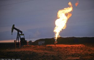 burning off gas at oil well