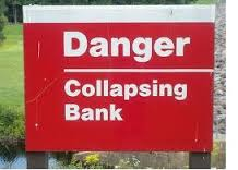 collapsing bank sign