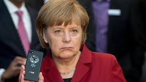 Angela Merkel with phone